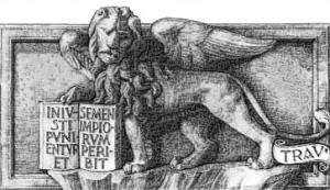 """""""Iniusti punientur, et semen impiorum peribit"""" (dal Salmo XXXVI, traducibile come """"gli ingiusti saranno puniti per sempre e la stirpe dei malvagi sarà cancellata"""")"""