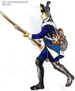 esempio di fante veneto con l'ultima uniforme usata anche dalle cernide, escluse le milizie valligiane alpine