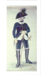 l'uffizial usava IL BICORNO, compreso il sergente. la giacca era a code più lunghe rispetto alla giacca del fante