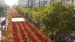 GRA436. BARCELONA, 11/09/14.- Vista aérea, cedida por TV3, de la Gran Vía de Barcelona, por la que se han manifestado miles de personas a favor de la consulta soberanista del 9 de noviembre y de la independencia, con motivo de la Diada. EFE/TV3/SOLO USO EDITORIAL/NO VENTAS